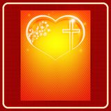Composition of an orange hue with a silhouette of the heart, cross and pattern. Easter composition of orange hue with silhouette of heart, cross and pattern Royalty Free Stock Photo