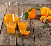 Composition with orange juice Stock Images