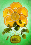 The composition of orange, lemon, kiwi and lemon balm leaves. Stock Photos