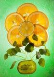 The composition of orange, lemon, kiwi and lemon balm leaves. Composition of orange, lemon, kiwi and lemon balm leaves stock photos