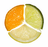 Composition of orange, lemon and lime segments. Circle made of three different citrus pieces Stock Photo