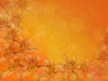 Lilies on a gold background. Composition with orange lilies on a gold background Royalty Free Stock Images