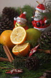 Composition with oranges. Bright christmas composition with oranges Royalty Free Stock Photography