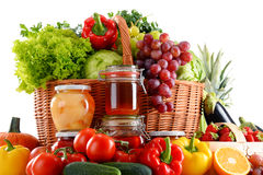 Composition with organic food on white Royalty Free Stock Image