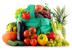 Composition with organic food on white Royalty Free Stock Photo