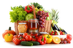 Composition with organic food on white Royalty Free Stock Photos