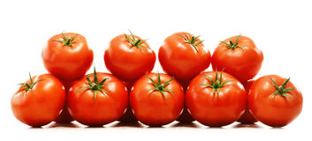 Composition with organic tomatoes on white Royalty Free Stock Photography