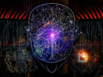 Lights of Consciousness. Composition of outlines of human head, technological and fractal elements on the subject of artificial intelligence, computer science Stock Image