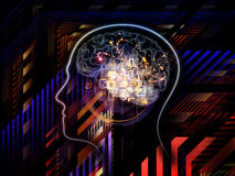 Lights of Consciousness. Composition of outlines of human head, technological and fractal elements on the subject of artificial intelligence, computer science Royalty Free Stock Image