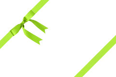 Composition for packaging with classic green ribbon bow Stock Photography