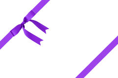 Composition for packaging with classic purple ribbon bow Royalty Free Stock Images