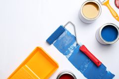 Composition with paint cans on white background. Composition with paint cans and space for text on white background stock image