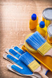 Composition of  painting tools gloves paintbrushes Royalty Free Stock Photos
