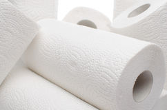 Composition with paper towel rolls. Isolated on white royalty free stock image