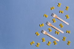 Composition of pasta and forks stock photography
