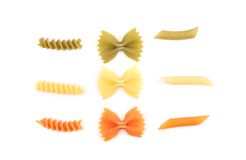 Composition of pasta in three colors. Stock Photography