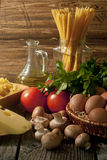 Composition of pasta, vegetables and cheese. Stock Photography