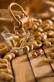 Composition of peanuts on wooden boards Stock Image