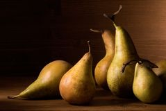 Composition of pears on wooden table Royalty Free Stock Photo