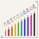 Composition of Pencils, Clips and Business Icons in Form of a Di Royalty Free Stock Photography