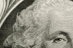 Composition peu commune du Président George Washington de la face de l'un billet d'un dollar américain photo libre de droits