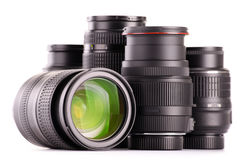 Composition with photo zoom lenses on white Royalty Free Stock Image