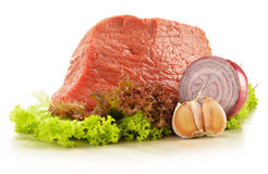 Composition with piece of beef meat and lettuce Royalty Free Stock Photography