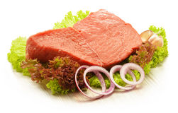 Composition with piece of beef meat and lettuce Royalty Free Stock Image