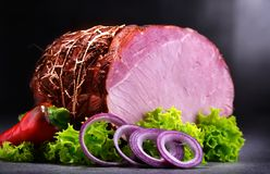 Composition with piece of ham. Meatworks products stock photo