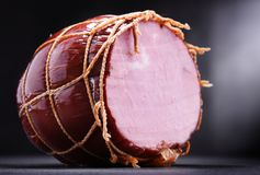 Composition with piece of ham. Meatworks products royalty free stock photos
