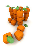 Composition with Piles of cubic oranges Stock Image