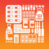 Composition with pills silhouettes. Royalty Free Stock Photography