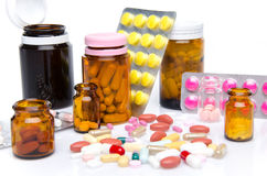 Composition with pills, tablets and capsules Royalty Free Stock Photo