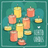 Composition with pink and yellow burning candles. Composition with soft pink and soft yellow burning candles.  green background. Cartoon hand draw style Royalty Free Stock Images