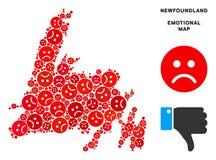 Composition pitoyable de carte d'île de Terre-Neuve de vecteur des smiley tristes illustration de vecteur