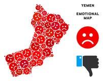 Composition pitoyable de carte du Yémen de vecteur d'Emojis triste illustration libre de droits