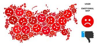 Composition pitoyable de carte de l'URSS de vecteur d'Emojis triste illustration de vecteur
