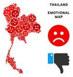 Composition pitoyable de carte de la Thaïlande de vecteur des smiley tristes illustration stock