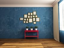 Composition with plants pictures and table. Indoors. Red, Green, Blue. Composition of dark blue wall,  modern and rustic style, hardwood floor, plants, sunbeam Royalty Free Stock Photos