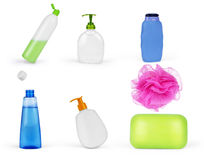 Composition with plastic bottles of body care and beauty product Royalty Free Stock Photos