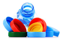 Composition with plastic bottles and caps Royalty Free Stock Photo