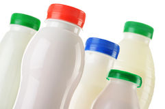 Composition with plastic bottles of milk products Royalty Free Stock Photos
