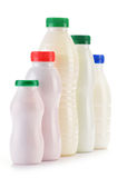 Composition with plastic bottles of milk products Stock Photo