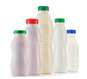Composition with plastic bottles of milk products Stock Photos