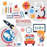 Composition plate en éléments d'école Images libres de droits