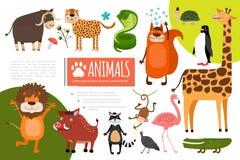 Composition plate en animaux de zoo illustration stock