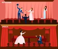Composition plate en bannières du spectacle de théâtre 2 Photos libres de droits