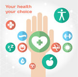 Composition plate en icône de soins médicaux avec la main Photographie stock libre de droits