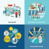 Composition plate en icônes de la culture 4 de Singapour illustration de vecteur