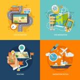 Composition plate en icônes de navigation illustration stock